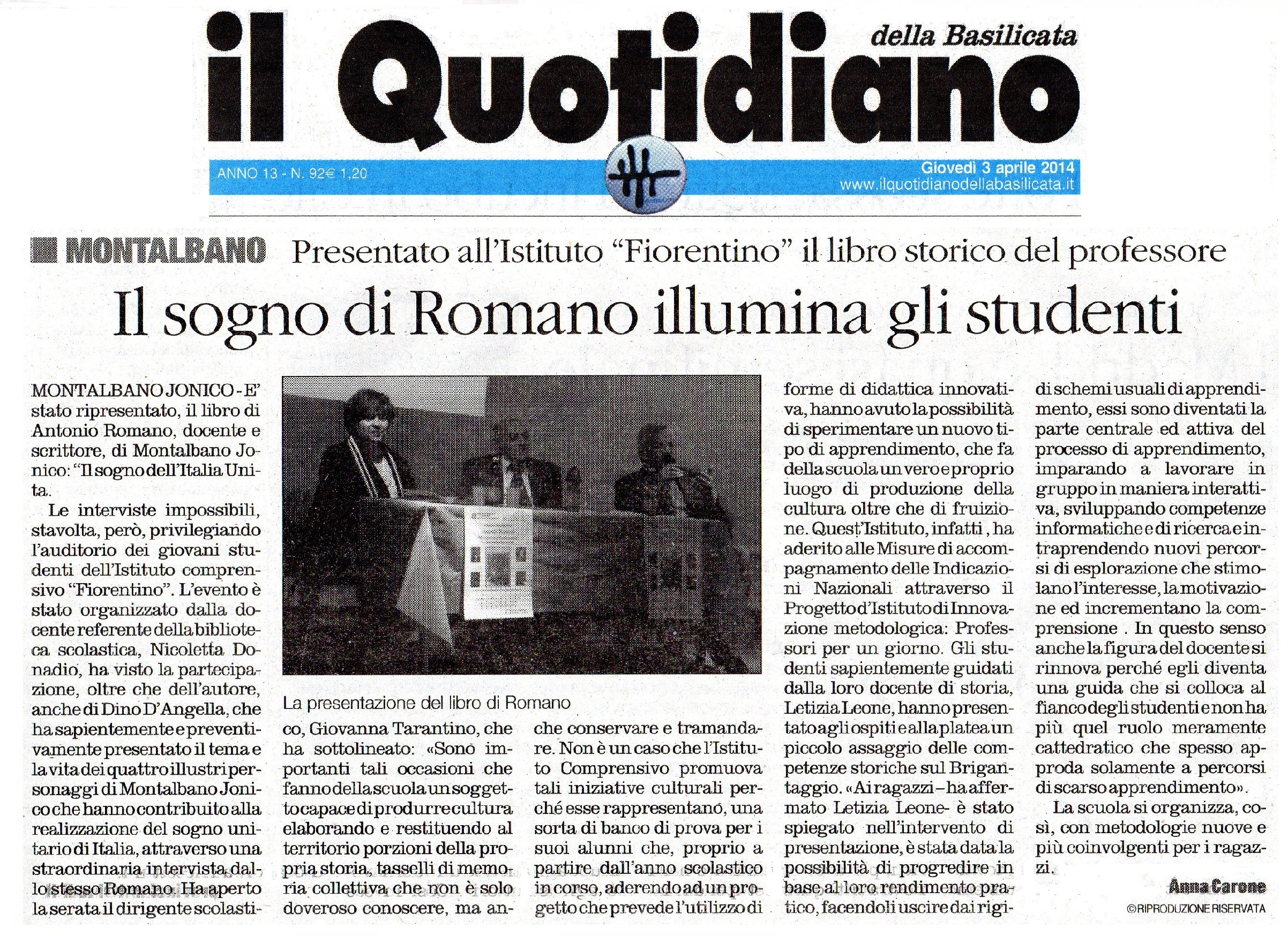 Il Quotidiano 03042014 Libro Romano 1